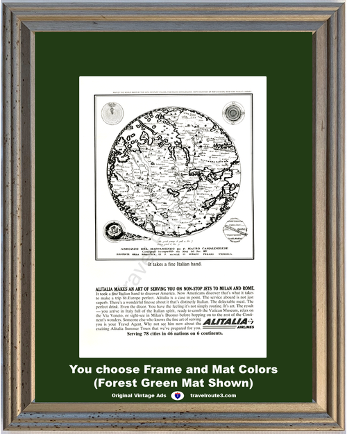 1963 Alitalia Airlines Travel Vacation Vintage Ad Jets Milan Rome Map 63 *You Choose Frame-Mat Colors-Free USA S&H*