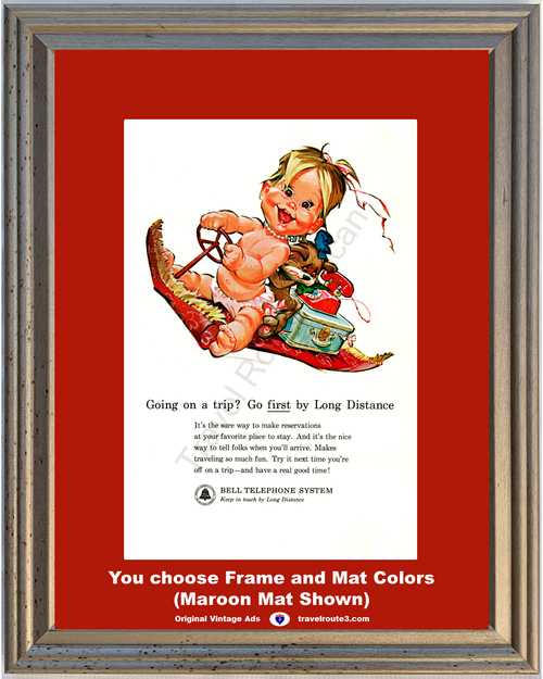 1963 Baby Magic Carpet Ride Vintage Ad Bell Telephone System Long Distance Rotary Dial Phone 63 *You Choose Frame-Mat Colors-Free USA S&H*