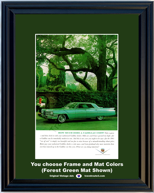 1963 Cadillac Sedan de Ville Vintage Ad 63 Green How Much Does a Cadillac Cost *You Choose Frame-Mat Colors-Free USA S&H*