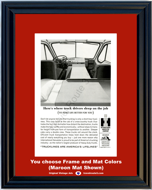 1964 International Harvester IH Semi Truck Vintage Ad 64 Cross Country Bunk Cab Truckline *You Choose Frame-Mat Colors-Free USA S&H*