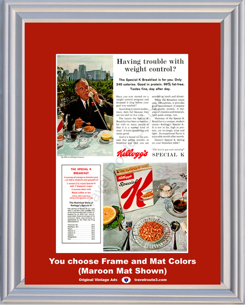 1964 Kellogg's Special K Breakfast Vintage Ad Weight Control Loss Diet 64 *You Choose Frame-Mat Colors-Free USA S&H*