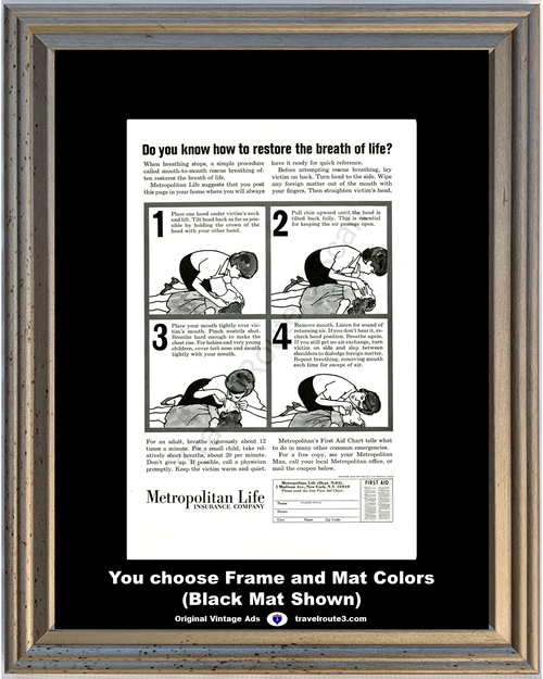 1964 Metropolitan Life Mouth to Mouth Vintage Ad Emergency First Aid Life Saving 64 *You Choose Frame-Mat Colors-Free USA S&H*