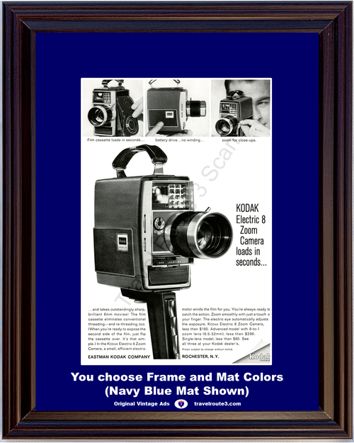 1964 Eastman Kodak Electric 8mm Vintage Ad Zoom Camera Movie Film Cassette 64 *You Choose Frame-Mat Colors-Free USA S&H*