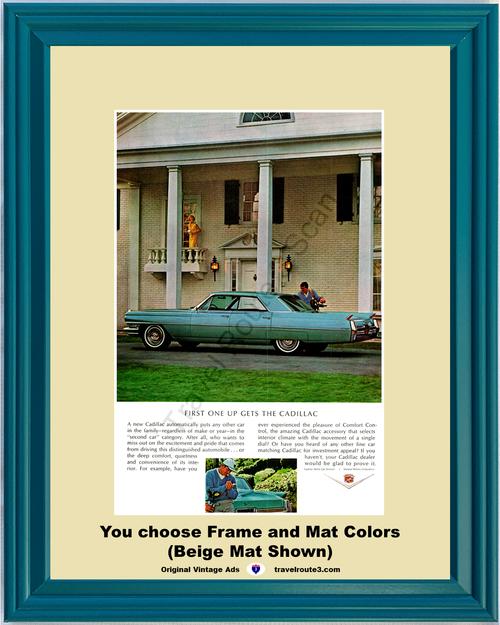 1964 Cadillac Sedan de Ville Vintage Ad 64 Luxury Automobile Mansion Golf *You Choose Frame-Mat Colors-Free USA S&H*
