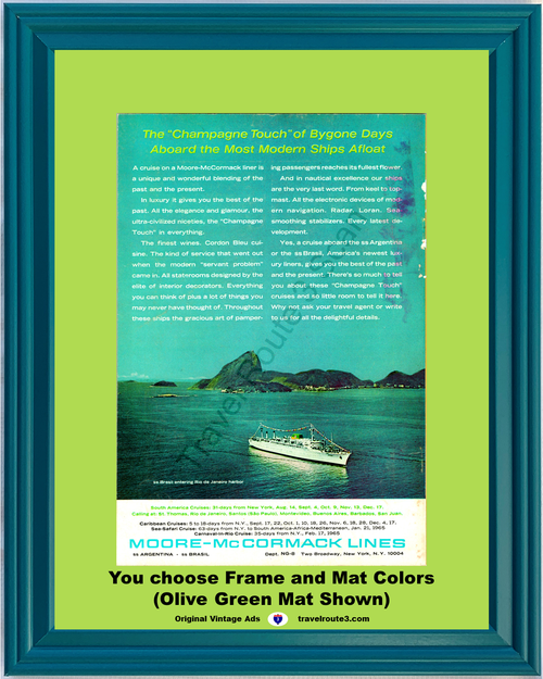 1964 Cruise Vacation Travel Rio Vintage Ad de Janeiro Champagne Touch SS Brasil Moore McCormack Lines 64 *You Choose Frame-Mat Colors-Free USA S&H*