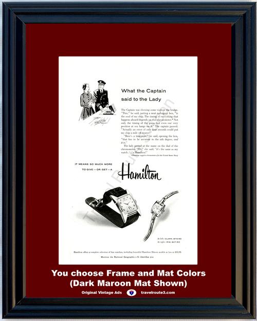 1955 Hamilton Watch Chronometer Vintage Ad Clark Iris United States Navy 55 *You Choose Frame-Mat Colors-Free USA S&H*