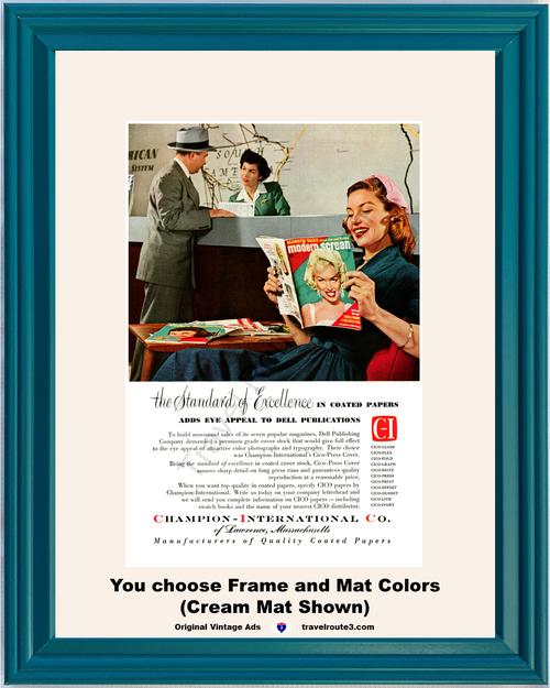 1955 Champion International Paper Marilyn Monroe Vintage Ad Modern Screen Magazine 55 *You Choose Frame-Mat Colors-Free USA S&H*