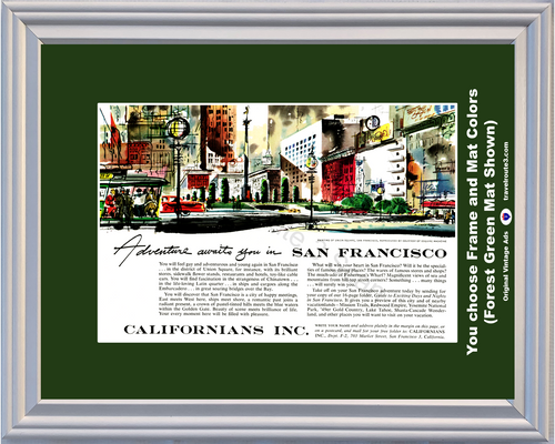 1955 San Francisco Travel Vintage Ad Union Square Travel Adventure Esquire Painting Trolley Californians 55 *You Choose Frame-Mat Colors-Free USA S&H*