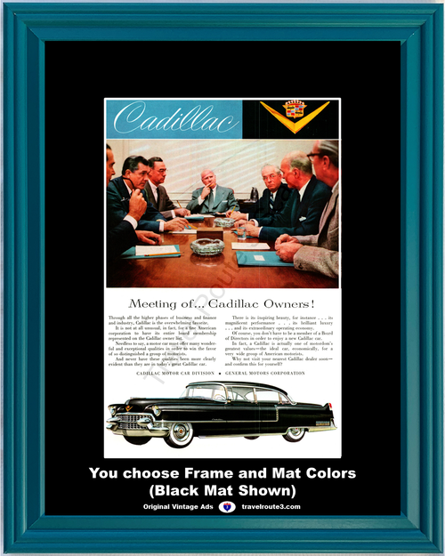 1955 Cadillac Vintage Ad 55 Black 4 Door Sedan de Ville Board of Directors Business Suits *You Choose Frame-Mat Colors-Free USA S&H*