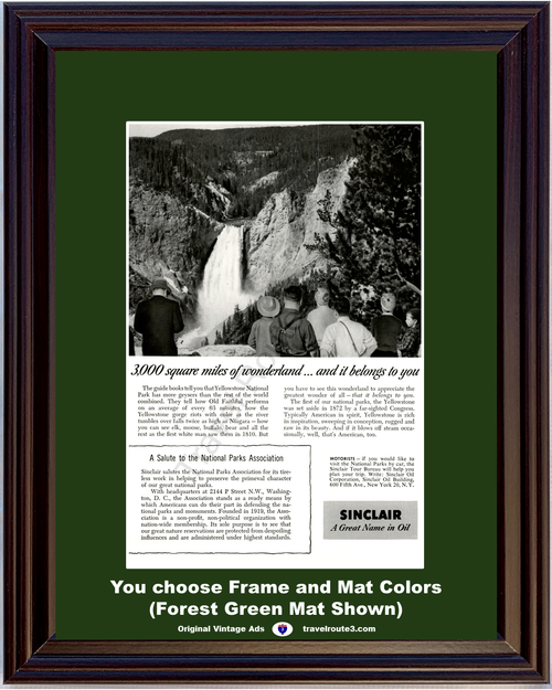 1955 Sinclair Oil Yellowstone National Park Vintage Ad Gorge Waterfall Travel Vacation 55 *You Choose Frame-Mat Colors-Free USA S&H*