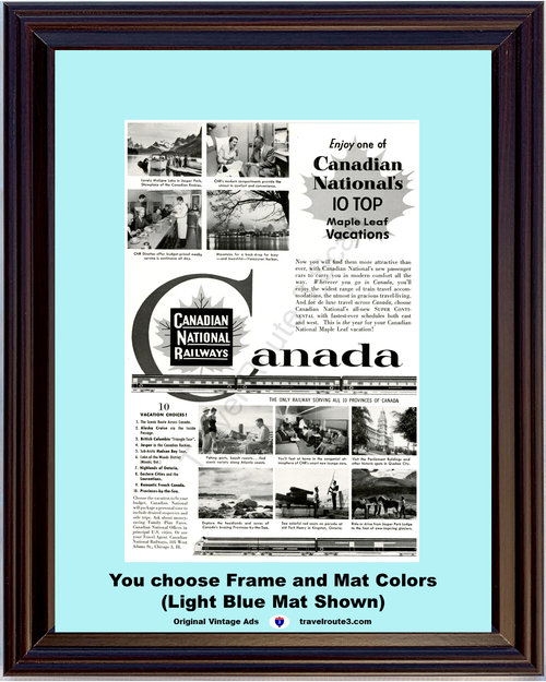 1955 Canadian National Railways Vintage Ad Canada Maple Leaf Vacations Travel 55 *You Choose Frame-Mat Colors-Free USA S&H*