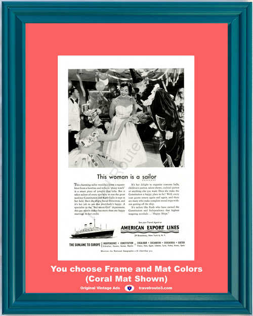 1955 55 American Export Lines Cruise Europe Woman is a Sailor Vacation Travel Vintage Ad