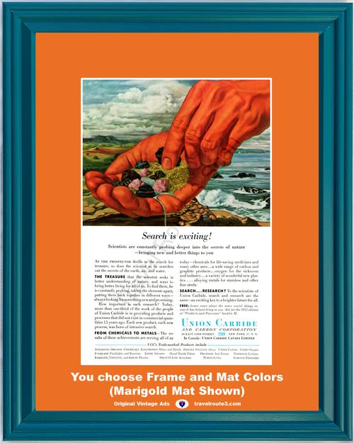 1955 Union Carbide Chemicals Vintage Ad Metals Medicine Carbon Graphite Plastic 55 *You Choose Frame-Mat Colors-Free USA S&H*