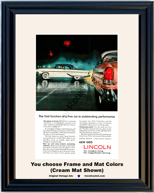 1955 Lincoln Capri Vintage Ad 55 Turbo Drive Modern Living Magnificent Driving 55 *You Choose Frame-Mat Colors-Free USA S&H*