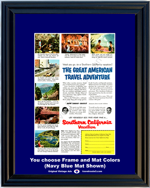 1955 Southern California Vacation Vintage Ad Catalina Los Angeles Sequoia Descanso Travel 55 *You Choose Frame-Mat Colors-Free USA S&H*