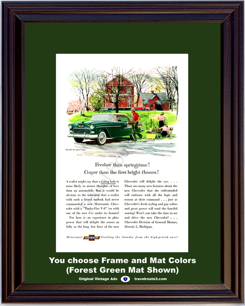 1955 Chevrolet Bel Air Vintage Ad 55 Chevy Sports Coupe Tri-Five Country Farm Green *You Choose Frame-Mat Colors-Free USA S&H*