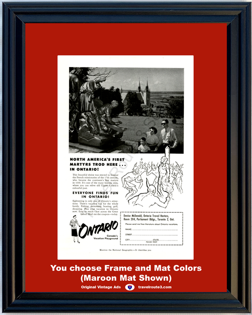 1955 Ontario Canada Travel Vintage Ad French Missionary Martyrs Shrine History Vacation 55 *You Choose Frame-Mat Colors-Free USA S&H*