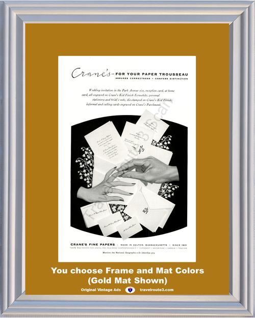 1955 55 Cranes Paper Trousseau Wedding Invitations Stationery Parchmont Fine Vintage Ad