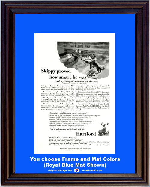 1955 Hartford Insurance Fire Vintage Ad Collie Dog Story Accident Indemnity 55 *You Choose Frame-Mat Colors-Free USA S&H*