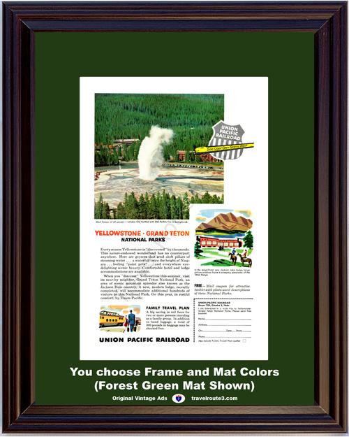 1955 Yellowstone Grand Teton National Park Vintage Ad Union Pacific Railroad Train Railroad Vacation Travel *You Choose Frame-Mat Colors-Free USA S&H*
