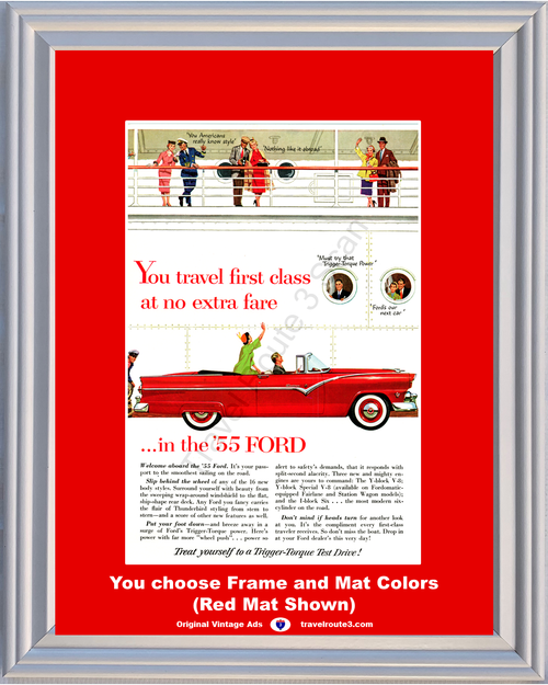 1955 Ford Sunliner Convertible Vintage Ad 55 Red Cruise Ship Sailing Cruising Vintage Ad *You Choose Frame-Mat Colors-Free USA S&H*