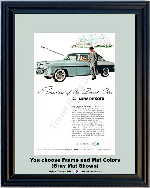 1955 De Soto Fireflite Vintage Ad 55 Washington D.C. Cherry Blossoms Plymouth Groucho Marx NBC *You Choose Frame-Mat Colors-Free USA S&H*