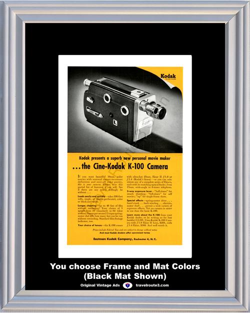 1955 Cine-Kodak K-100 Color Movie Vintage Ad Maker 16mm Camera 55 *You Choose Frame-Mat Colors-Free USA S&H*