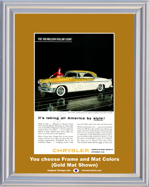 1955 Chrysler New Yorker Vintage Ad 55 Deluxe St. Regis Gold and Platinum *You Choose Frame-Mat Colors-Free USA S&H*