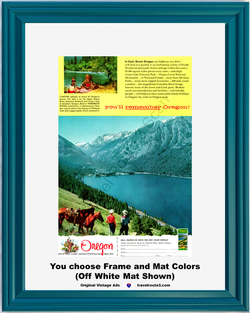 1955 Oregon Camping Horseback Riding Vintage Ad Mountain Lake Vacation Travel 55 *You Choose Frame-Mat Colors-Free USA S&H*