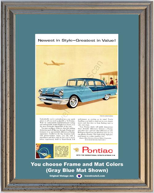 1955 Pontiac Chieftan Vintage Ad 55 870 4 Door Sedan Blue Strato-Streak V-8 *You Choose Frame-Mat Colors-Free USA S&H*