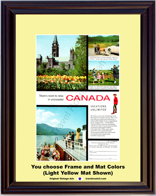 1955 Canada Canadian Vacation Vintage Ad Ottawa Peace Tower Bag Pipes Cruise Travel 55 *You Choose Frame-Mat Colors-Free USA S&H*