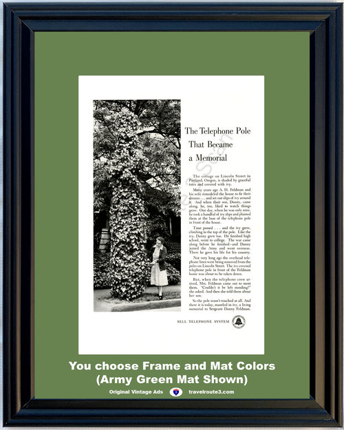 1955 Bell Telephone Army Vintage Ad Oregon World War II WWII Memorial Story 55 *You Choose Frame-Mat Colors-Free USA S&H*