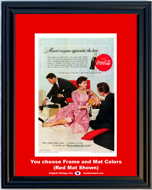 1955 Serve Coca-Cola Vintage Ad There's Nothing Like a Coke Perfect Refreshment NBC 55 *You Choose Frame-Mat Colors-Free USA S&H*