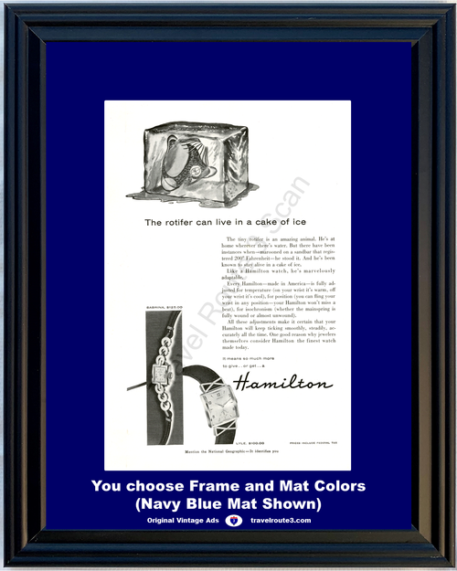 1955 Hamilton Wrist Watch Vintage Ad Sabrina Lyle Rotifer 55 *You Choose Frame-Mat Colors-Free USA S&H