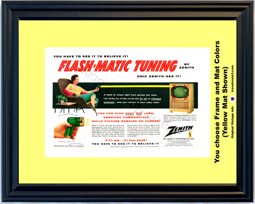 1955 Zenith Remote Flash Matic Vintage Ad Tuning Television TV Magic Light 55 *You Choose Frame-Mat Colors-Free USA S&H*