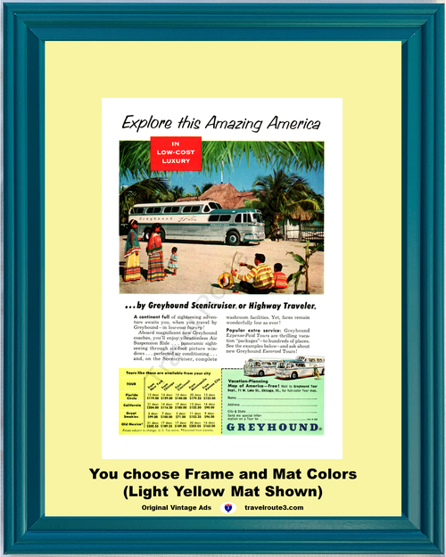 1955 Greyhound Bus Scenicruiser Vintage Ad Explore Amazing America Old Mexico Vacation Travel 55 *You Choose Frame-Mat Colors-Free USA S&H*