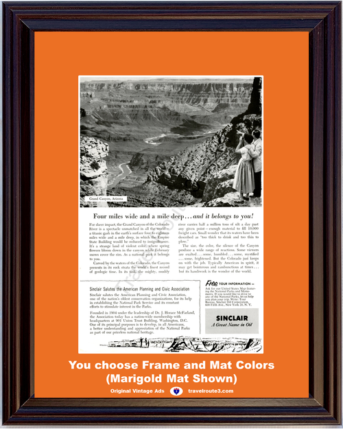 1955 Sinclair Oil Grand Canyon Vintage Ad Arizona National Park Service Vacation Travel 55 *You Choose Frame-Mat Colors-Free USA S&H*