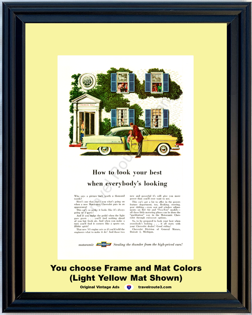 1955 Chevrolet Bel Air Sports Coupe Vintage Ad 55 Chevy Tri-Five Motoramic Yellow Colonial Hall *You Choose Frame-Mat Colors-Free USA S&H*