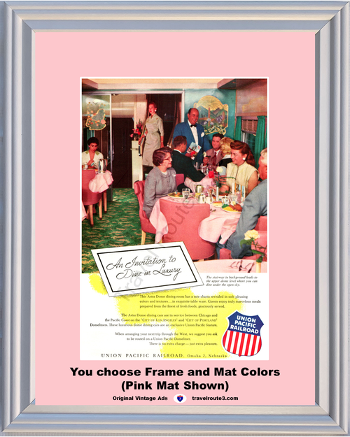 1955 Union Pacific Railroad Domeliner Vintage Ad Railway Train Railroad Vacation Travel 55*You Choose Frame-Mat Colors-Free USA S&H*