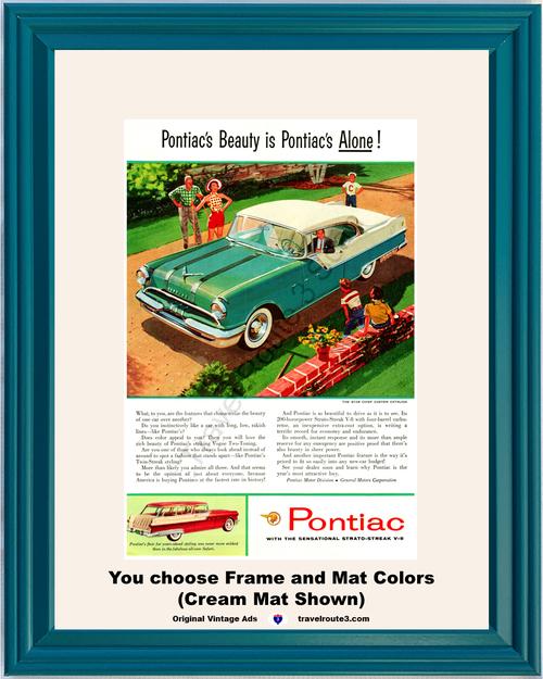 1955 Pontiac Star Chief Vintage Ad Custom Catalina 2 Door Hardtop Safari 55 *You Choose Frame-Mat Colors-Free USA S&H*