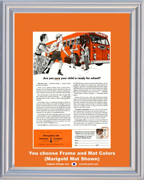 1955 55 Metropolitan Life Insurance Child Children School Bus Youth Vintage Ad
