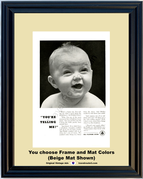 1955 55 Bell Telephone System Phone Baby Infant Funny Humor Vintage Ad