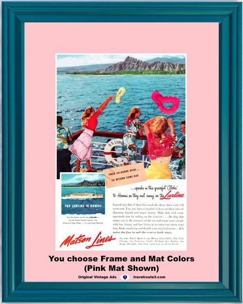 1955 55 Matson Lines Hawaii Diamond Head Lurline Lei-Borne Wish Vacation Travel Vintage Ad