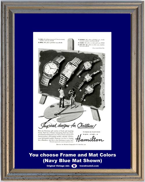1955 55 Hamilton Watch Waterproof Gold Wrist Men's Women's Christmas Vintage Ad