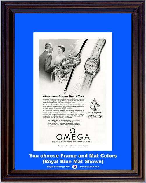 1955 55 Omega Watch Diamond Wrist Men's Women's Olympic Cross Vintage Ad