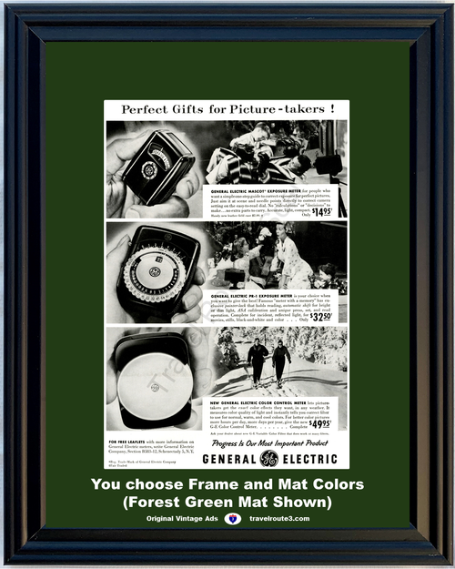 1955 55 General Electric GE Camera Photography Exposure Meter Color Control Christmas Gift Vintage Ad