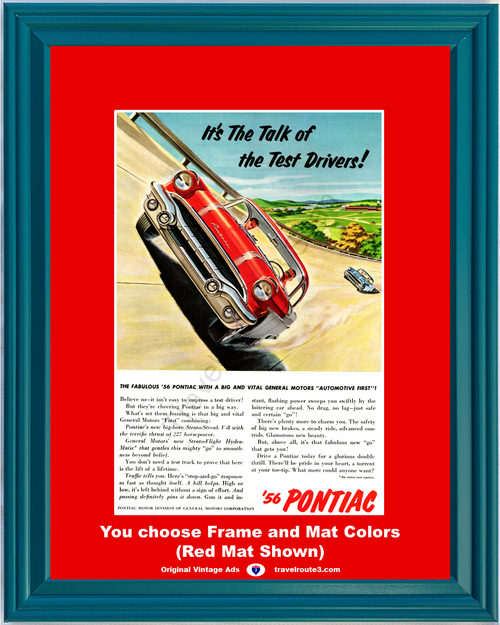 1956 56 Fabulous Pontiac Race Track Test Drive Racing Red 2 Door Hardtop 1955 Vintage Ad