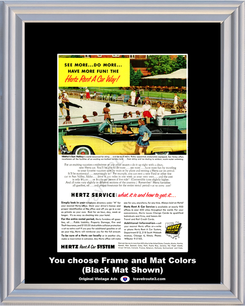 1955 55 Hertz Sun Valley Idaho Ford Victoria Convertible Rent A Car Vacation Travel Vintage Ad