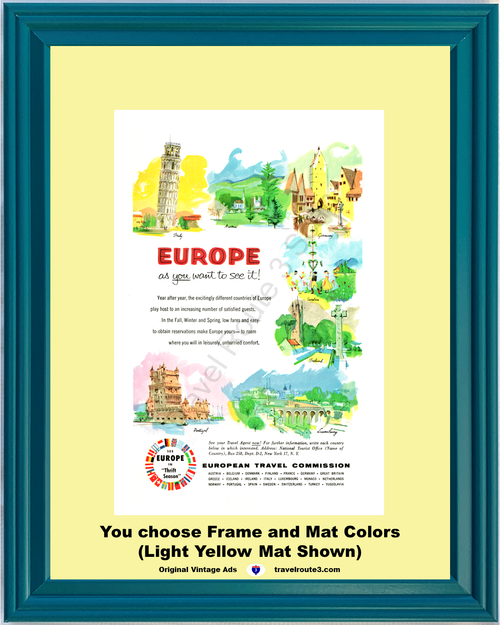 1955 55 Europe Italy Austria Germany Sweden Ireland Portugal Luxembourg Vacation Travel Vintage Ad