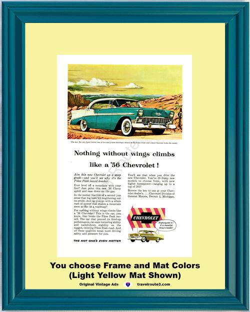 1956 56 Chevrolet Chevy Bel Air Sport Sedan 4 Door Hardtop Pikes Peak 1955 Vintage Ad
